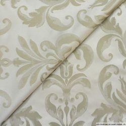 Taffetas jacquard baroque polyester grège