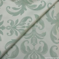 Taffetas jacquard baroque polyester vert amande