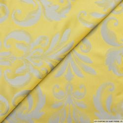Taffetas jacquard baroque polyester blé et gris