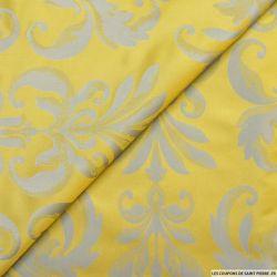 Taffetas jacquard baroque polyester mimosa et amande