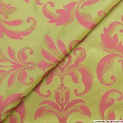 Taffetas jacquard baroque polyester rose et pistache