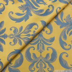 Taffetas jacquard baroque polyester bleu et ocre