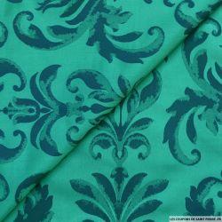 Taffetas jacquard baroque polyester marine et canard