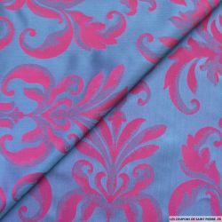 Taffetas jacquard baroque polyester fuchsia et violet