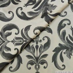 Taffetas jacquard baroque polyester noir et gris