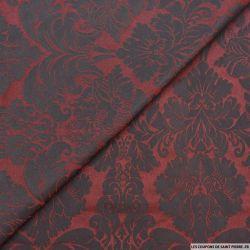 Taffetas jacquard ornement polyester bordeaux et noir