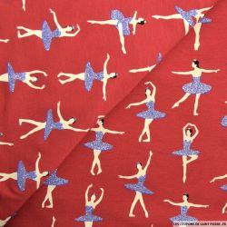 Jersey coton imprimé danseuse fond bordeaux