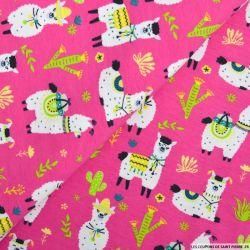 Jersey coton imprimé lama fond rose