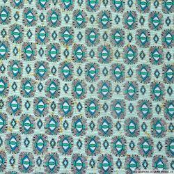 Coton élasthane imprimé oeil vert