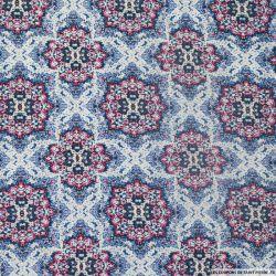 Viscose imprimé rosace bleu et rose
