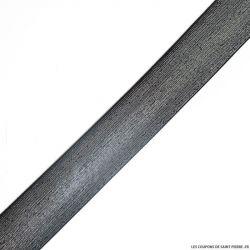 Elastique lurex noir argent - 40mm au mètre