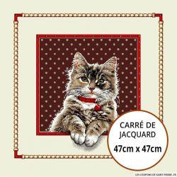 Jacquard chat à collier - 47cm x 47cm