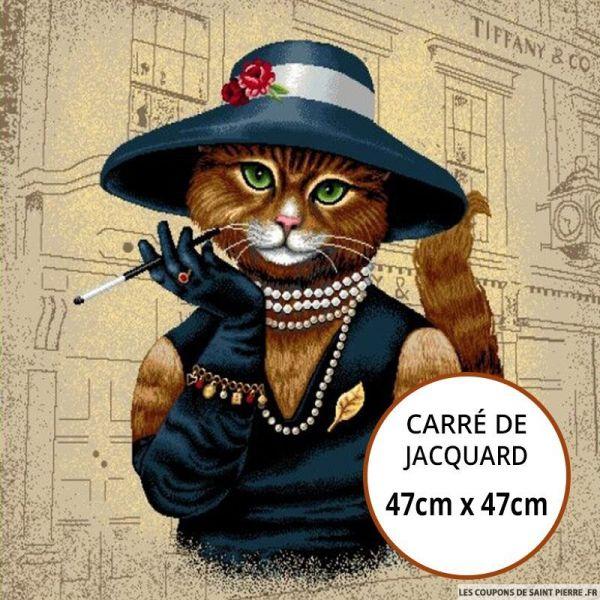 Jacquard chat au chapeau - 47cm x 47cm
