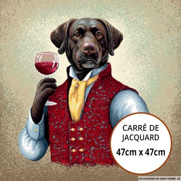 Jacquard chien au verre - 47cm x 47cm