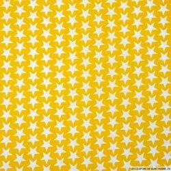Coton imprimé étoiles fond jaune