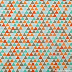 Coton imprimé triangles multicolore