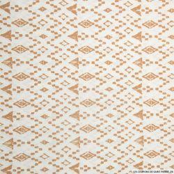 Coton imprimé aztèque graphique sable fond blanc