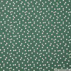 Coton imprimé noeud papillon fond vert