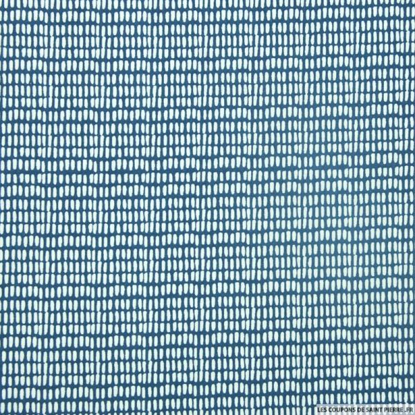 Coton imprimé petits traits fond marine