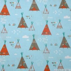 Coton imprimé tipi indien fond bleu
