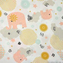 Coton imprimé éléphant fantaisie