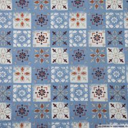 Coton imprimé carreaux ciment bleu