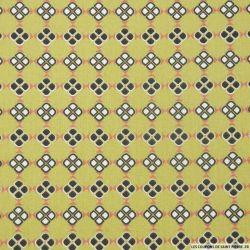 Coton imprimé petits carrés africain fond vert
