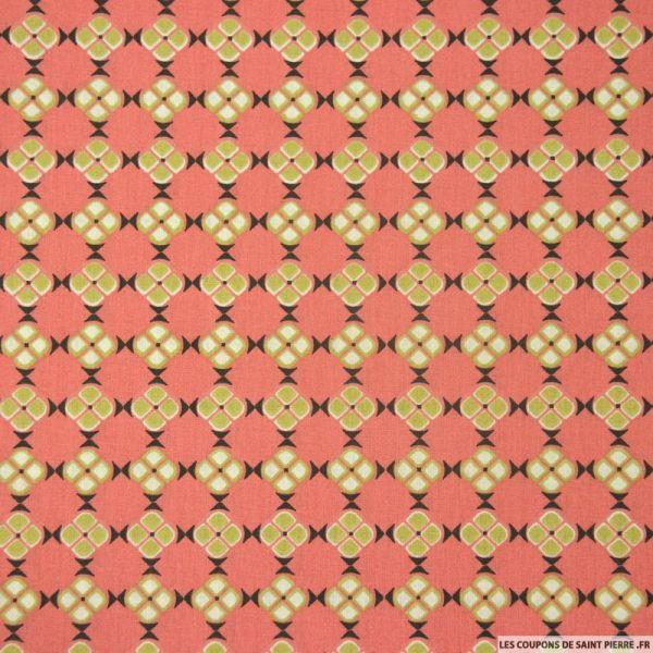 Coton imprimé petits carrés africain fond corail