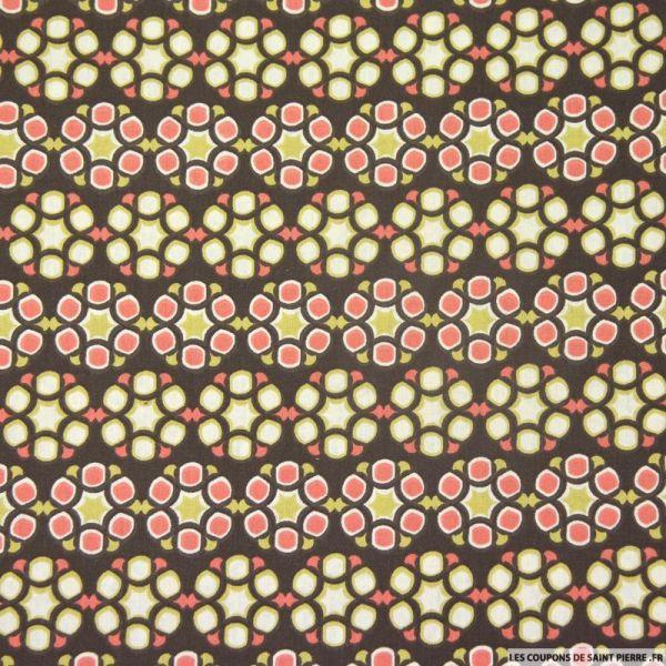Coton imprimé rosaces fond marron