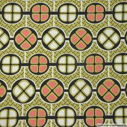 Coton imprimé retro africain fond vert