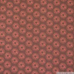 Coton imprimé soleil fond marron
