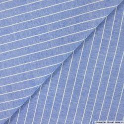 Chambray de coton rayé 1,5 cm bleu
