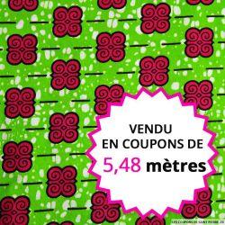 Wax africain petit motif fuchsia fond vert, vendu en coupon de 5,48 mètres