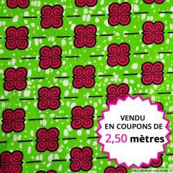 Wax africain petit motif fuchsia fond vert, vendu en coupon de 2,50 mètres