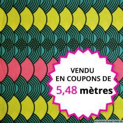 Wax africain totem vert, rouge et jaune, vendu en coupon de 5,48 mètres