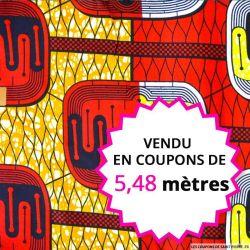 Wax africain énergie rouge,orange et jaune, vendu en coupon de 5,48 mètres