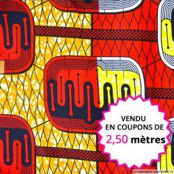Wax africain énergie rouge,orange et jaune, vendu en coupon de 2,50 mètres