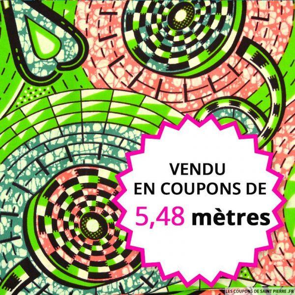 Wax africain spirale rose et vert, vendu en coupon de 5,48 mètres