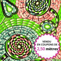 Wax africain totem vert, rouge et jaune, vendu en coupon de 2,50 mètres