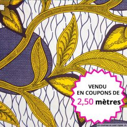 Wax africain feuilles ocre, vendu en coupon de 2,50 mètres