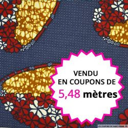 Wax africain couronne de fleurs fond bleu, vendu en coupon de 5,48 mètres