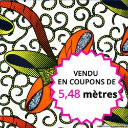 Wax africain noeud orange fond blanc, vendu en coupon de 5,48 mètres