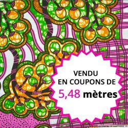 Wax africain raisin fond rose, vendu en coupon de 5,48 mètres