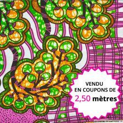 Wax africain raisin fond rose, vendu en coupon de 2,50 mètres