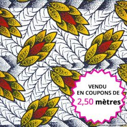 Wax africain pomme de pin coloré, vendu en coupon de 2,50 mètres