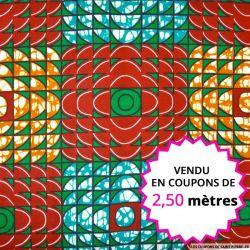 Wax africain carreaux rouge et vert, vendu en coupon de 2,50 mètres