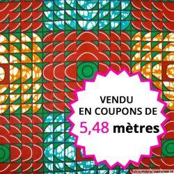 Wax africain carreaux rouge et vert, vendu en coupon de 5,48 mètres