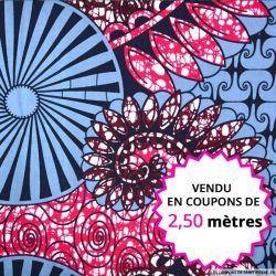 Wax africain fête foraine fond ardoise, vendu en coupon de 2,50 mètres