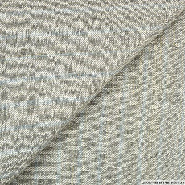 Bourrette de soie rayé ardoise fond gris