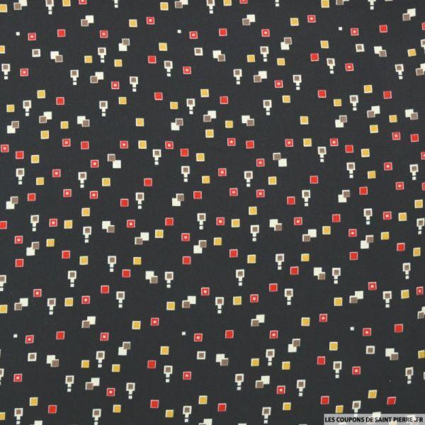 Microfibre imprimé petits carrés fond noir